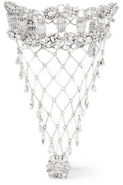 Erickson Beamon Rhodium-plated Swarovski crystal glove