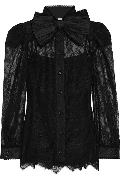 Gucci - Pussy-bow Chantilly Lace Blouse - Black