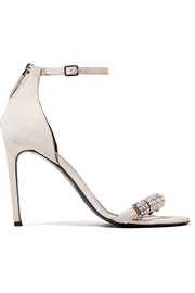 CALVIN KLEIN 205W39NYC Camelle crystal-embellished suede sandals