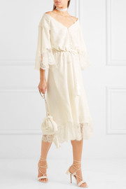 Lace-paneled silk-jacquard midi dress
