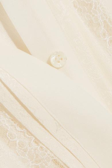 Etro Hemd aus Seiden-Jacquard mit Spitzeneinsätzen
