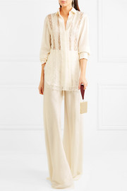 Lace-paneled silk-jacquard shirt
