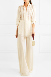 Silk-jacquard wide-leg pants