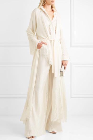 Etro Robe aus Seiden-Jacquard mit Spitzenbesätzen