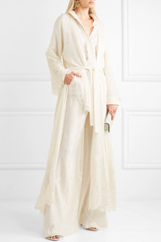 Lace-paneled silk-jacquard robe
