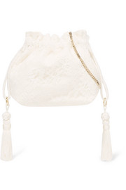 Tasseled lace and silk-jacquard bucket bag