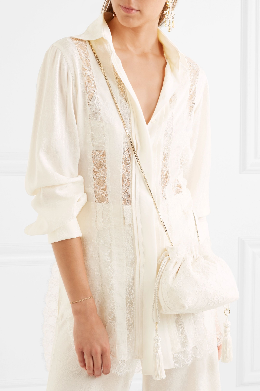 Etro Tasseled lace and silk-jacquard bucket bag