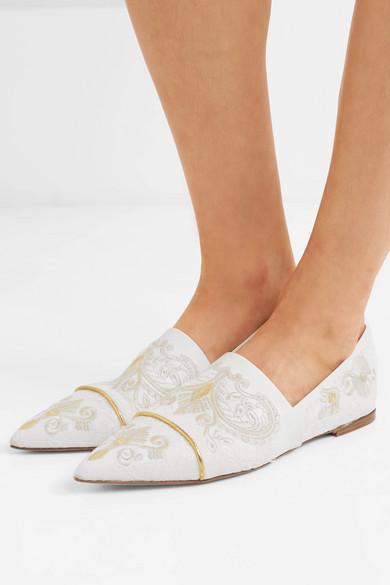 Etro Flache Schuhe mit spitzer Kappe aus besticktem Leder mit Spitzenbesätzen