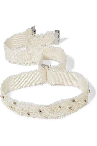Etro - Embellished Lace And Grosgrain Choker - Ivory thumbnail