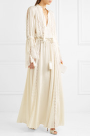 Lace-paneled silk-jacquard gown