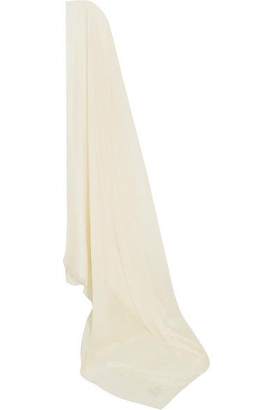 Silk-Blend Chiffon And Jacquard Veil, Ivory