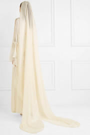 Silk-blend chiffon and jacquard veil