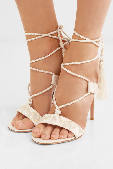 Etro Sandals Embroidered Lace And Satin