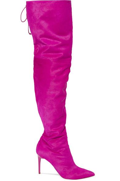 Oscar de la Renta - Over-the-knee Calf Hair Boots - Pink