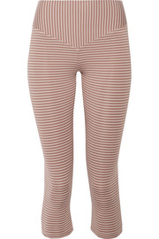 Mateo cropped striped stretch-jersey leggings
