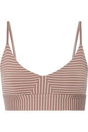Daphne striped stretch-jersey sports bra