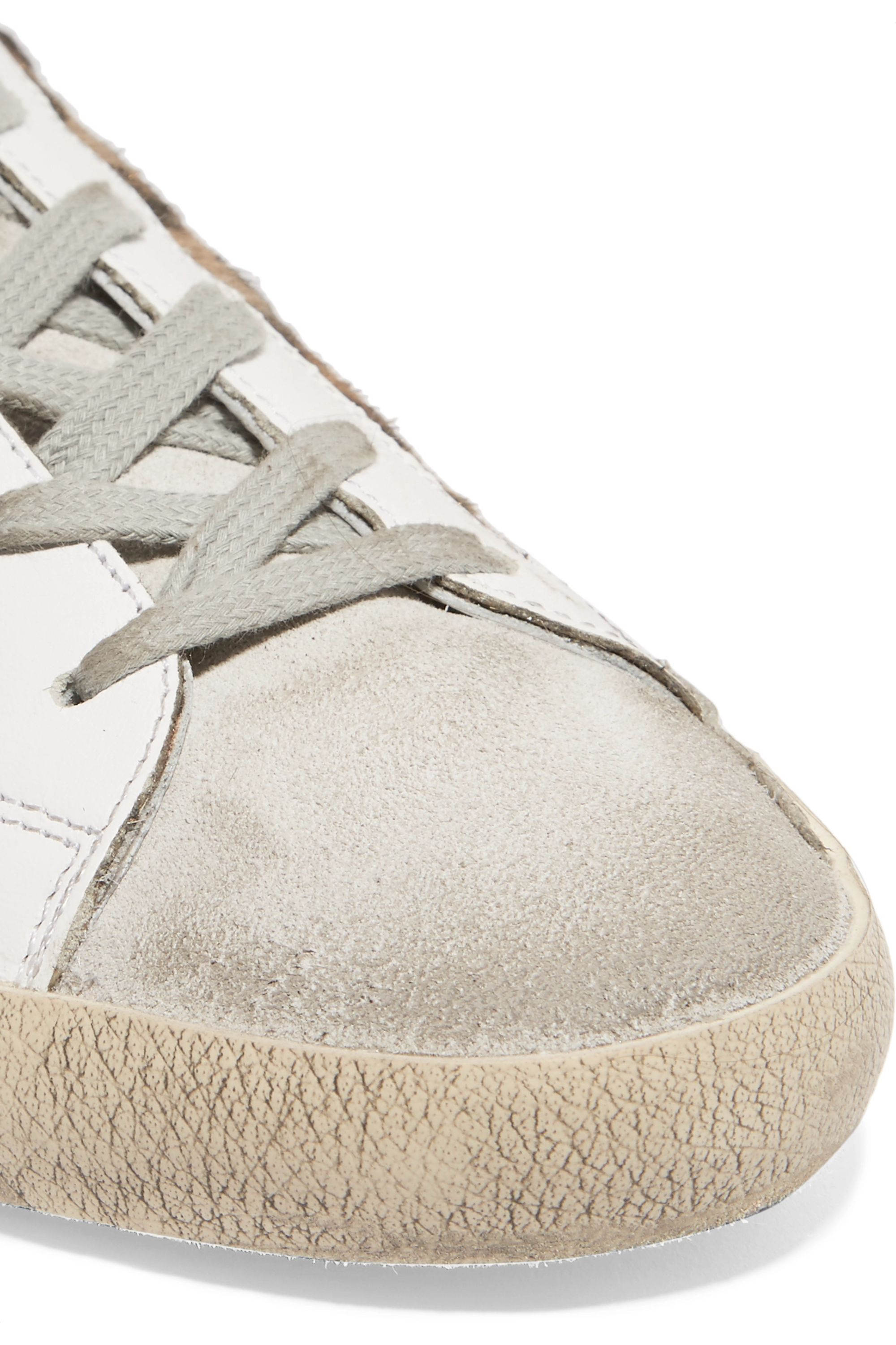 Golden Goose Superstar distressed leather and calf hair sneakers