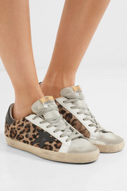 Super Star distressed leather and calf hair sneakers