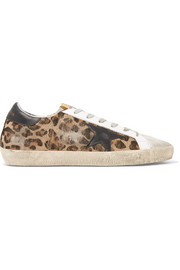 Golden Goose Deluxe Brand Super Star distressed leather and calf hair sneakers