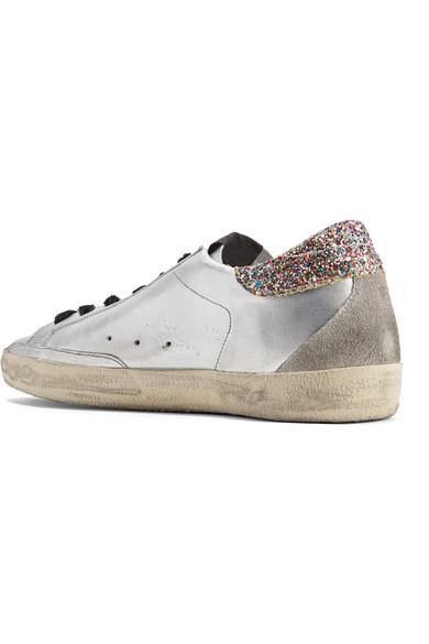 Golden Goose Deluxe Brand Superstar Sneakers aus Leder in Distressed-Optik mit Glitter-Finish