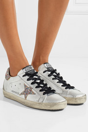 Super Star glittered distressed leather sneakers
