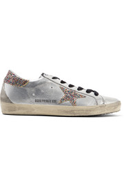 Golden Goose Deluxe Brand Super Star glittered distressed leather sneakers