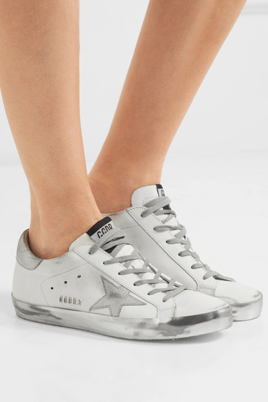 Golden Goose Deluxe Marque Superstar Sneakers Aus Leder En Détresse-optik