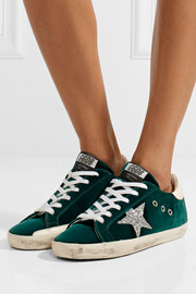 Super Star glitter-trimmed velvet sneakers