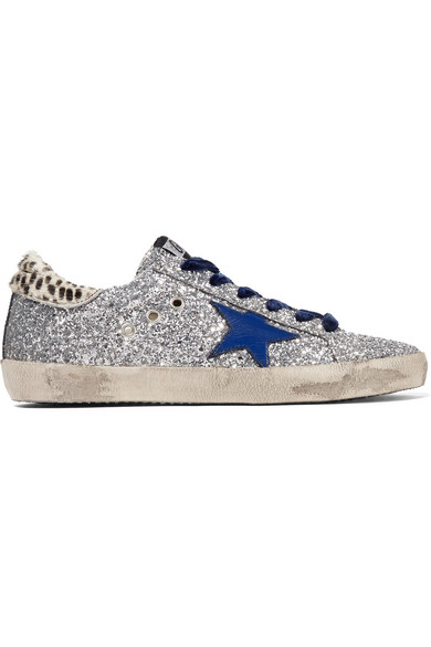 3379dd6732c73 Golden Goose Super Star Glittered Leather And Calf Hair Sneakers In Silver