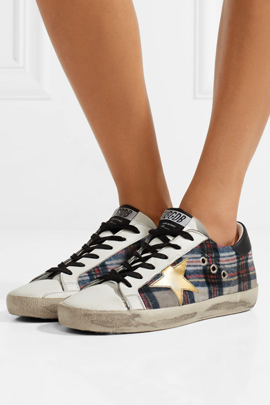 Golden Goose Deluxe Brand Francy Sneakers From Tweed To Tartan-pattern And Leather