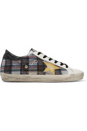 Golden Goose Deluxe Brand Francy tartan tweed and leather sneakers