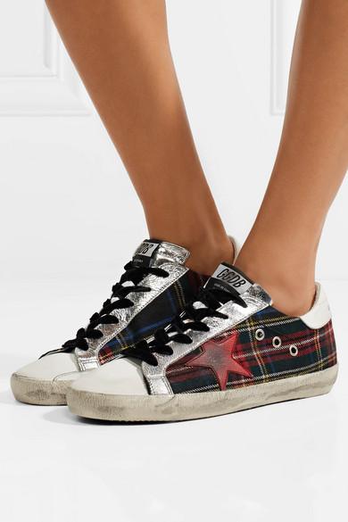 Golden Goose Deluxe Brand Superstar Sneakers aus Leder in Distressed-Optik und Tweed mit Tartan-Muster