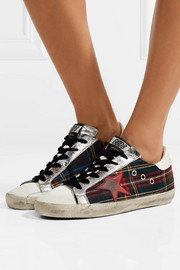 Super Star tartan tweed and distressed leather sneakers