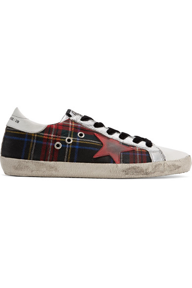 Golden Goose Deluxe Brand Superstar Sneakers Of Leather In Distressed-optics And Tweed With Tartan Pattern
