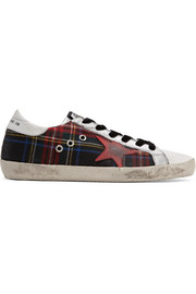 Superstar tartan tweed and distressed leather sneakers