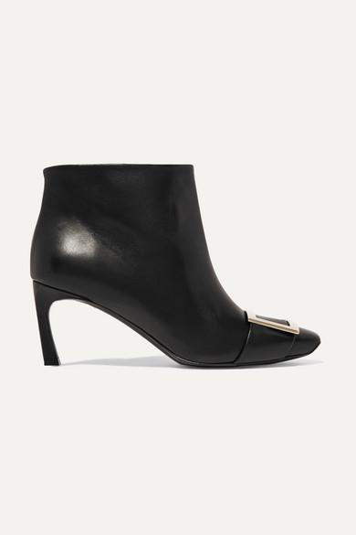 Roger Vivier Belle Vivier Trompette Leather Ankle Boots In Black