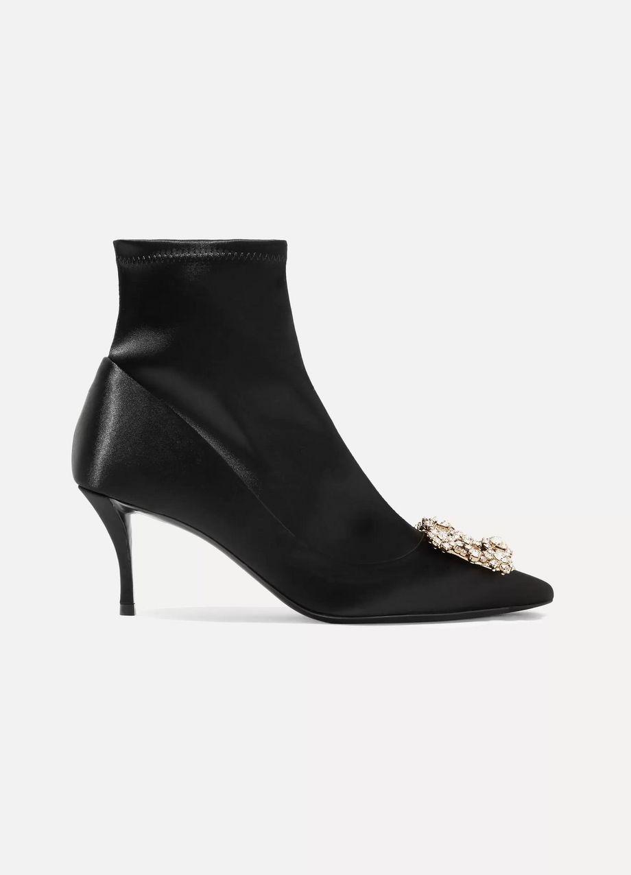 Roger Vivier Flower crystal-embellished silk-satin sock boots