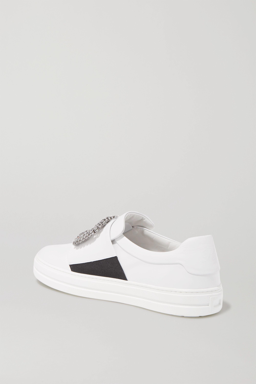 Roger Vivier Sneaky Viv crystal-embellished leather slip-on sneakers