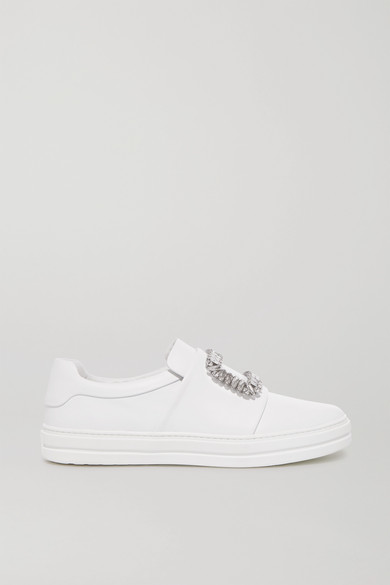 Sneaky Viv Crystal-Embellished Leather Slip-On Sneakers in White