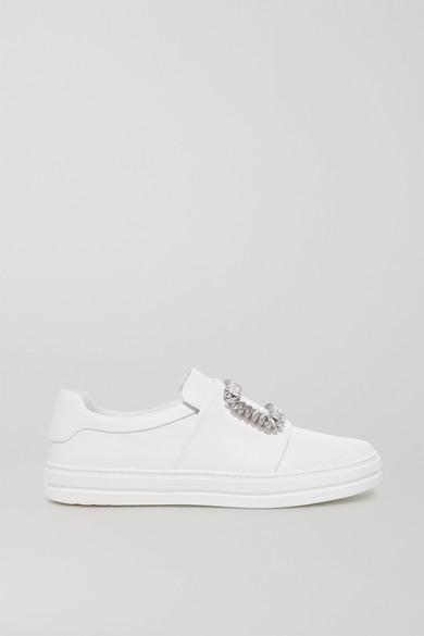 ROGER VIVIER Sneaky Viv Crystal-Embellished Leather Slip-On Sneakers in White
