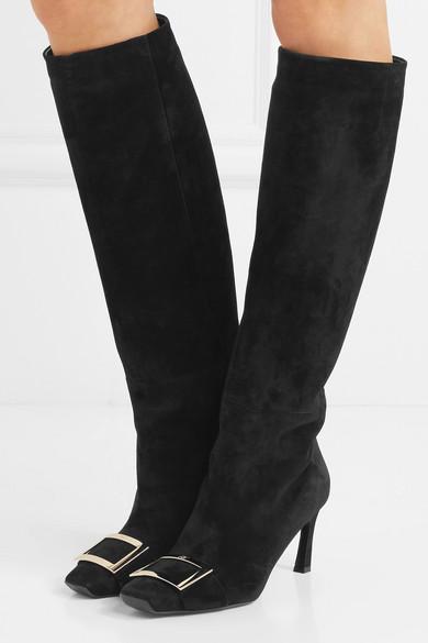 Roger Vivier Trompette kniehohe Stiefel aus Veloursleder