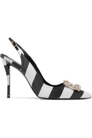 Crystal-embellished striped satin slingback pumps