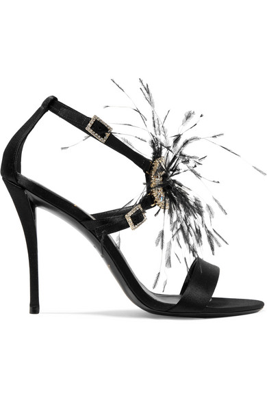 d5671a94f37 Roger Vivier. Sin feather and crystal-embellished satin sandals