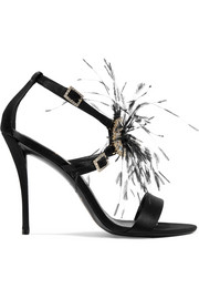 Sin feather and crystal-embellished satin sandals