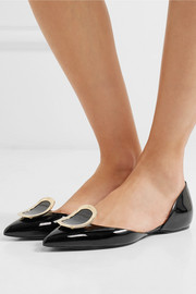 Dorsay embellished patent-leather point-toe flats