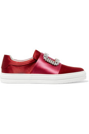 Sneaky Viv crystal-embellished two-tone satin slip-on sneakers