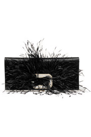 Roger Vivier Feather and crystal-embellished satin clutch