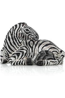 Judith Leiber Zebra fine crystal-embellished clutch