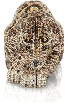 Judith Leiber Wildcat crystal-embellished clutch