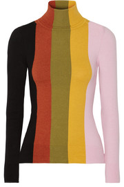 Striped stretch cotton-blend turtleneck sweater